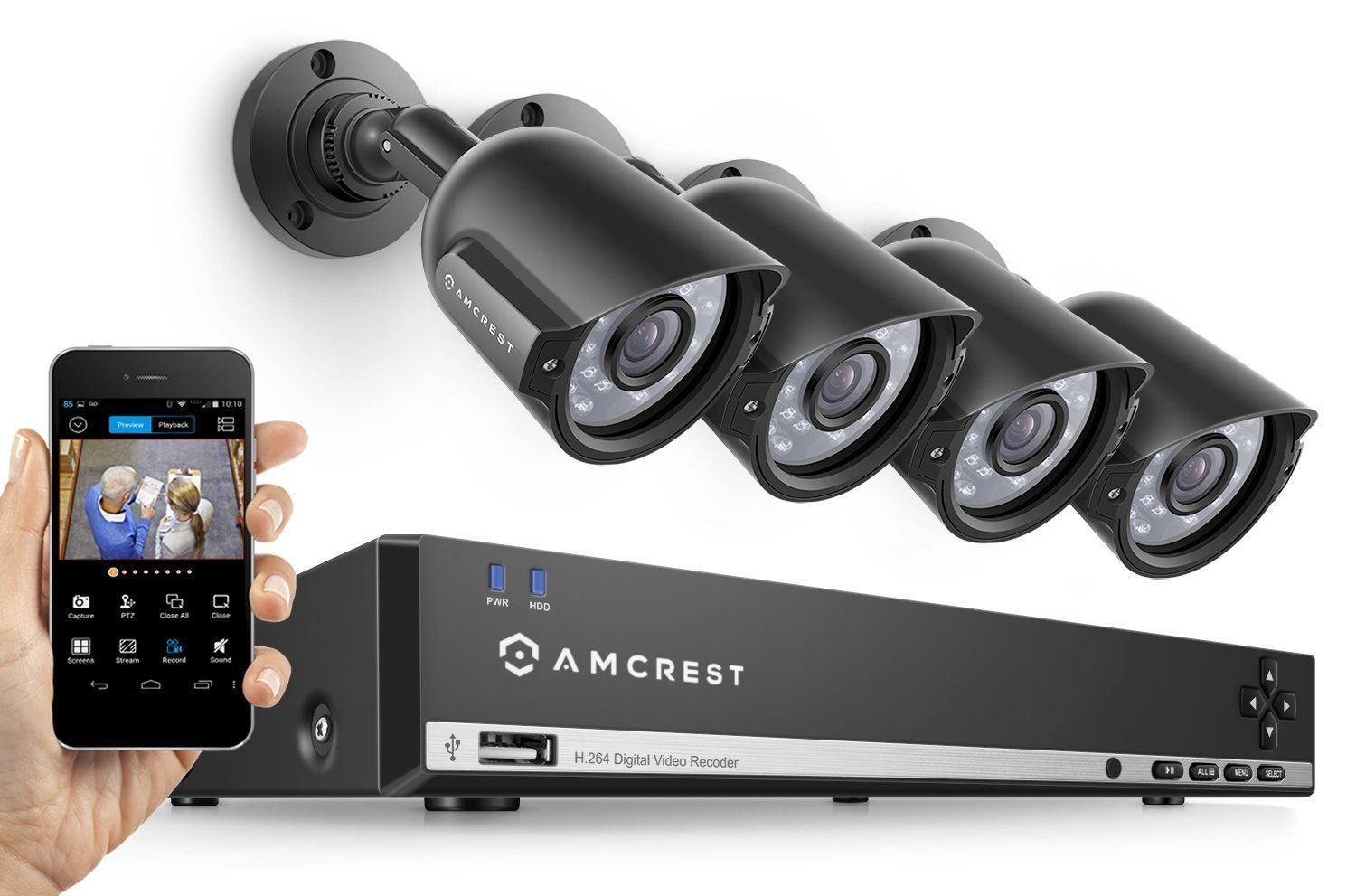 Amcrest 960H Video Security System Four 800+TVL Weatherproof Cameras