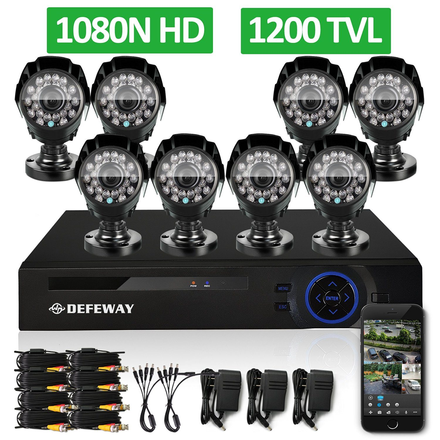 DEFEWAY 8CH 1080N Security DVR 8 1200TVL 720P HD Outdoor Video Surveillance Camera System