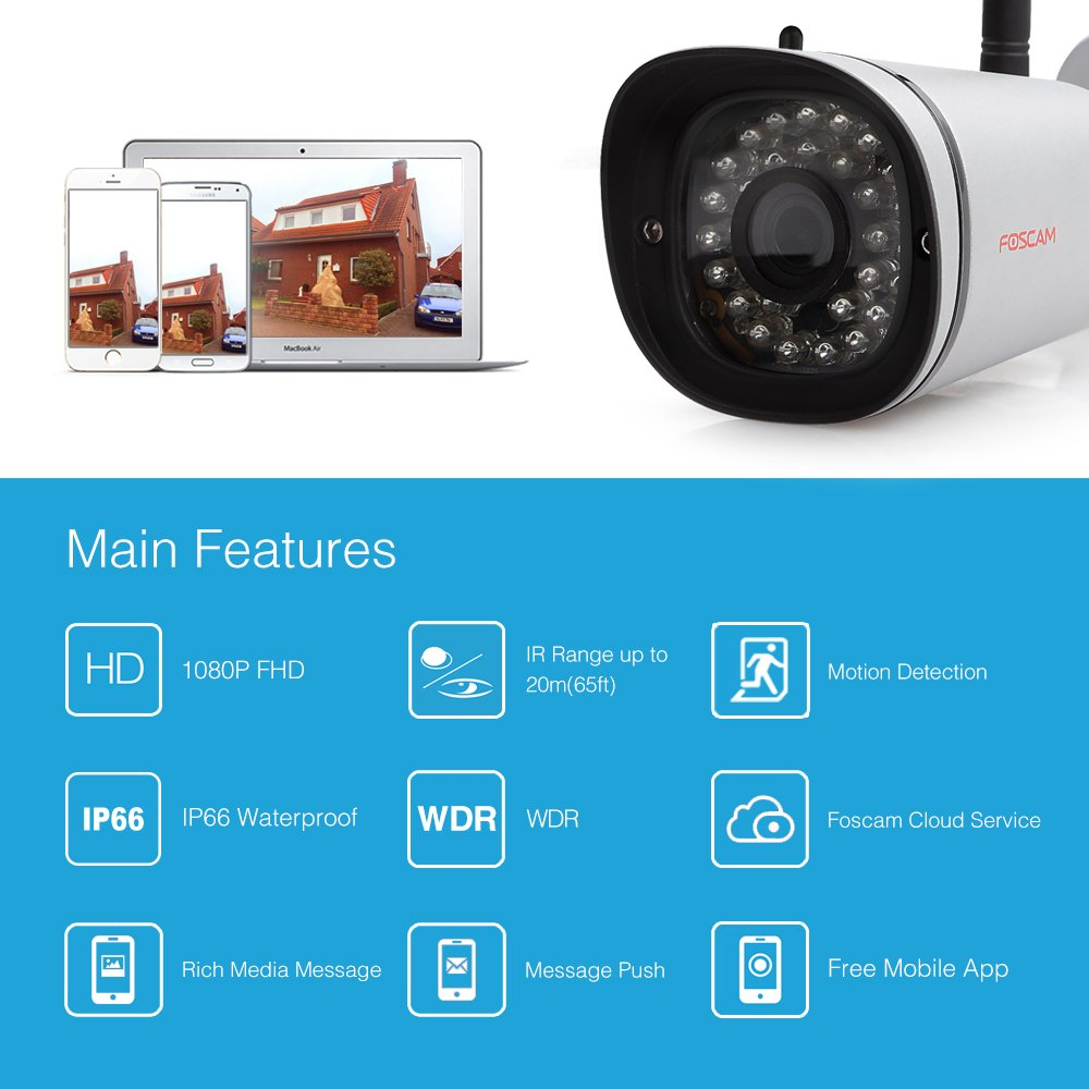Foscam HD 1080P Outdoor WiFi Security Camera features